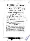 Dichiarazione del sig. abbate Gio. Donato Mezzafalce, contro una testimonianza del padre Marco Silverio Sbatti della Compagnia di Giesù