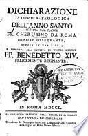 Dichiarazione istorica-teologica dell'anno santo scritta dal padre fr. Cherubino da Roma Minore osservante, divisa in tre libri, ..