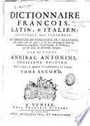 Dictionnaire françois, latin & italien