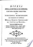 Difesa della musica moderna e de' suoi celebri esecutori