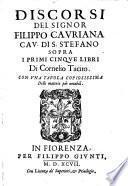Discorsi sopra i primi cinque libri di Cornelio Tacito