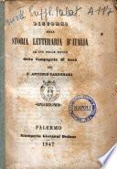 Discorsi sulla storia letteraria d'Italia ad uso delle scuole della Compagnia di Gesu' del P. Antonio Carbonari