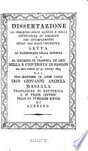 Dissertazione sul progresso delle scienze e della letteratura in Sardegna (etc.)