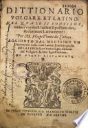 Dittionario volgare e latino... per M. Filippo Venuti,...