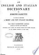 Dizionario italiano, ed inglese: English and Italian