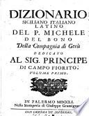 Dizionario siciliano italiano latino