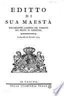Editto di Sua Maestà riguardante l'azienda del tabacco del regno di Sardegna. In data delli 28. Dicembre 1763