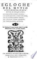 Egloghe del Mutio Iustinopolitano divise in cinque libri