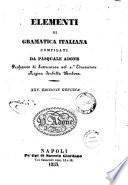 Elementi di grammatica italiana compilati da Pasquale Adone
