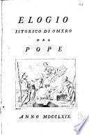 Elogio istorico di Omero del Pope