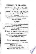 Errori Di stampa notati nel libro II. Cap. II. de Tom. XII. della storia letteraria d'Italia