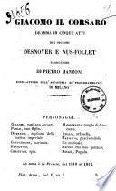 Giacomo il corsaro dramma in cinque atti dei signori Desnoyer e Nus-Follet