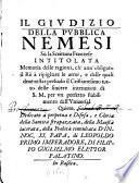 Giudizio della publica Nemesi su la Scrittura francese Memoria delle ragioni, ch'ann'obligato il Rè à ripigliare le armi