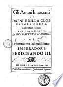 Gli amori innocenti di Dafni e della Cloe. Fauola greca descritta in italiano dal comm. D. Gio. Battista Manzini