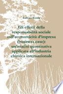 Gli effetti della responsabilità sociale sull'economicità d'impresa (business case): un'analisi quantitativa applicata all'industria chimica internazionale