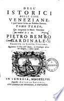 Gli Istorici delle cose Veneziane