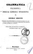 Grammatica filosofica della lingua italiana di Angelo Cerutti