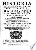 Historia della sacra Religione militare di S. Giovanni Gerosol