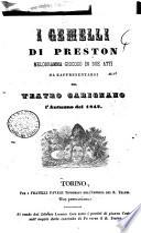 I gemelli di Preston melodramma giocoso in due atti da rappresentarsi nel Teatro Carignano l'autunno del 1842