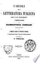 I *secoli della letteratura italiana dopo il suo Risorgimento commentario
