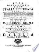 Idea della Storia dell'Italia letterata (etc.)