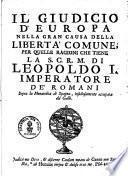 Il giudicio d'Europa nella gran causa della libertà commune