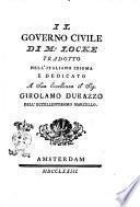 Il governo civile di m.r Locke tradotto nell'italiano idioma ..