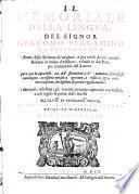 Il Memoriale Della Lingva. Del Signor Giacomo Pergamino Da Fossombrone