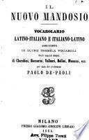 Il nuovo Mandosio vocabolario latino-italiano e italiano-latino