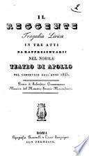 Il Reggente tragedia lirica in tre atti da rappresentarsi nel nobile Teatro di Apollo nel carnevale dell'anno 1845