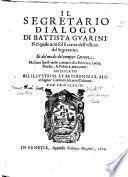 Il segretario, dialogo di Battista Gvarini