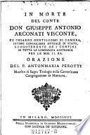 In morte del conte don Giuseppe Antonio Arconati Visconte ...