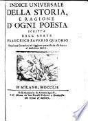 Indice Universale Della Storia E Ragione D'Ogni Poesia
