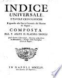Indice universale e tavole cronologiche