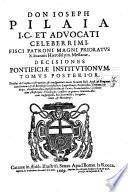 Institutiones canonicae Ioseph Pilaia v.i.d. Messanensis. Tomus primus [-secundus]