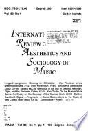 International Review of the Aesthetics and Sociology of Music