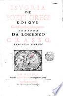 Istoria de' poeti greci e di que' che'n greca lingua han poetato, scritta da Lorenzo Crasso, barone de Pianura