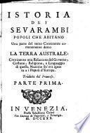 Istoria dei Sevarambi, popoli che abitano una parte del terzo continente comunemente detto la Terra australe ...