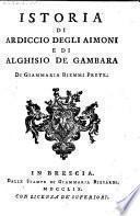 Istoria di Ardiccio degli Aimoni e di Alghisio de Gambara