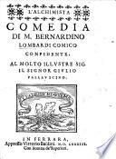 L'Alchimista, comedia [in five acts and in prose], etc