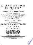 L'aritmetica in pratica di Francesco Ferraguti ...