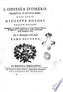 L'Odissea d'Omero tradotta in ottava rima dall'abate Giuseppe Bozoli pastor arcade ... con le annotazioni dello stesso ... Tomo primo [-quarto!