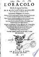 L'oracolo della lingua latina. Di D. Marc'Antonio Mazzone da Miglionico