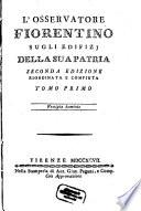 L' Osservatore Fiorentino Sugli Edifizi Della Sua Patria
