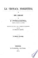 La cronaca fiorentina di Dino Compagni e L'intelligenza, poemetto attribuito al medesimo