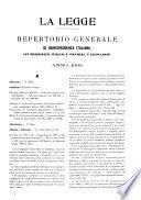 La Legge repertorio generale analitico alfabetico