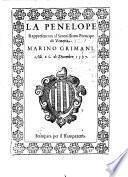 La Penelope, Rappresentata al Serenissimo Prencipe di Venetia Marino Grimani. Alli 26. di Dicembre 1597