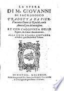 La sfera di M. Giouanni di Sacrobosco tradotta da Pieruincentio Dante de Rinaldi, con le annotazioni del medesimo. Et con l'aggiunta delle figure, & d'altre annotazioni. Alla seren. regina Giouanna d'Austria, gran duchessa di Toscana