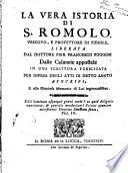 La Vera Istoria Di S. Romolo
