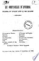 Le orfanelle d'Anversa dramma in cinque atti e sei quadri